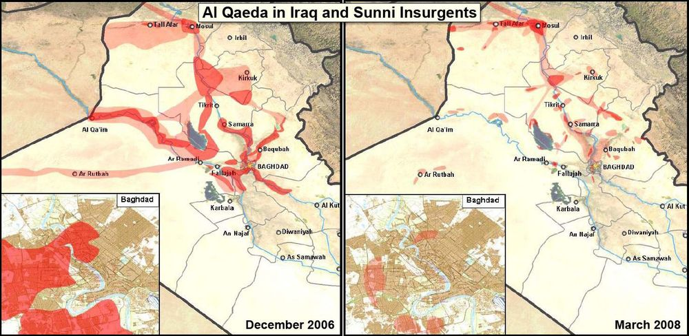 A Multinational Force Iraq map shows the progress coalition forces have made in reducing the number of Al Qaeda and Sunni insurgents in  Iraq  from December 2006 to March 2008. General David H. Petraeus submitted the map as part of his testimony before the Senate Armed Services Committee, April 8, 2008. Defense Deptartment map, via  Wikipedia .