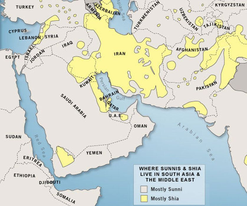 Map of Sunni and Shia populations, via  Vox .