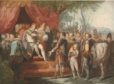 Illustration of King John delivering Magna Carta to the Barons (1783) via the  British Library .