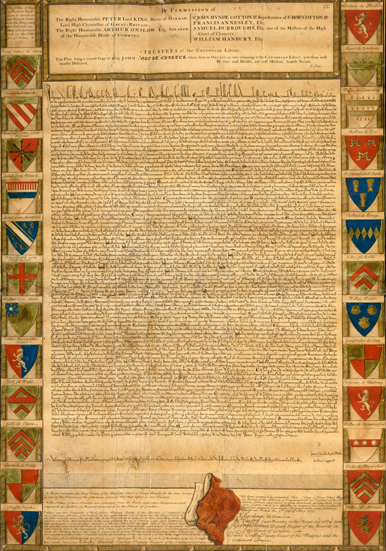A facsimile of the Magna Carta, published in 1733. The original was burned in the Ashburnham fire of 1731 via the British Library.