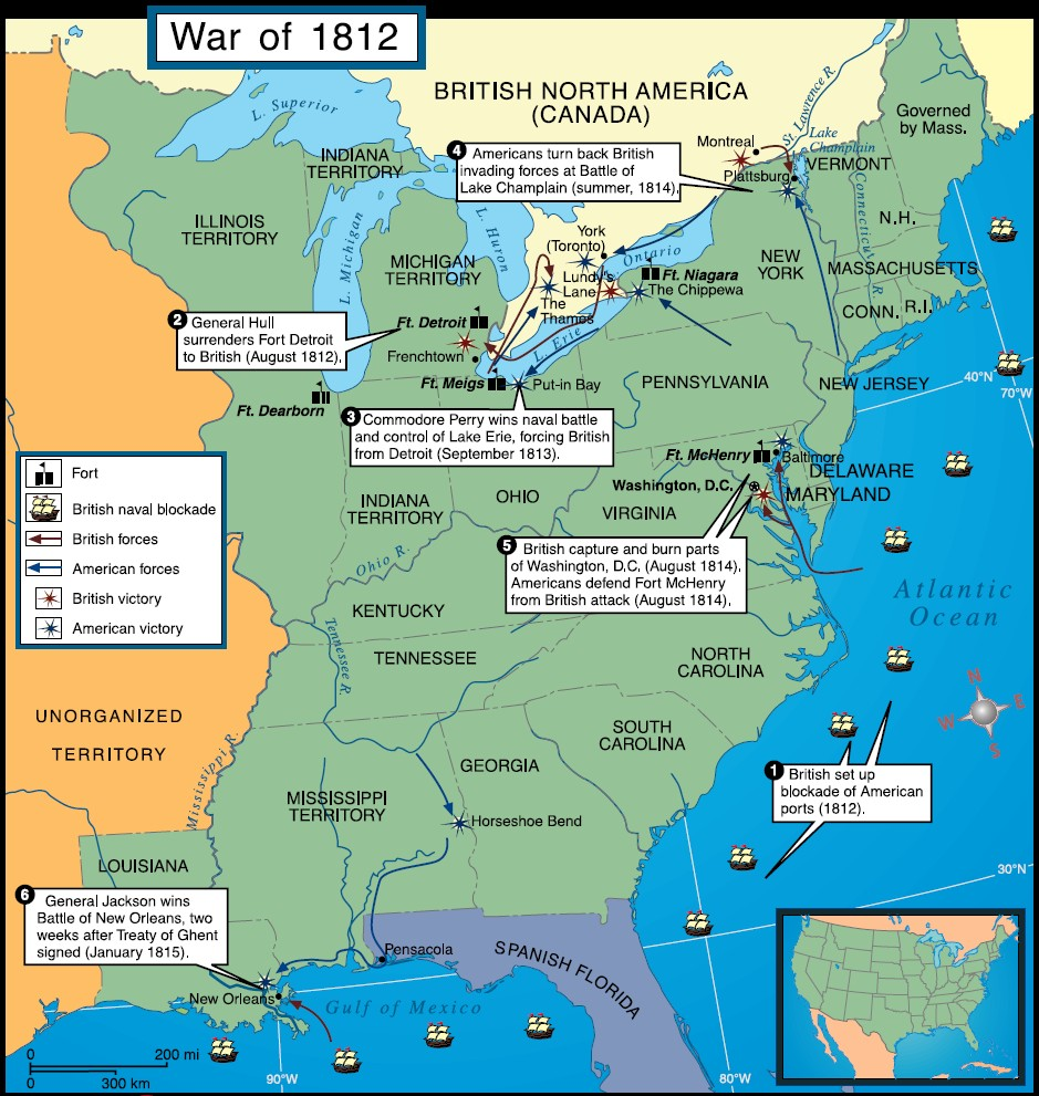 A map of War of 1812 offensives, via  jb-hdmp.org .