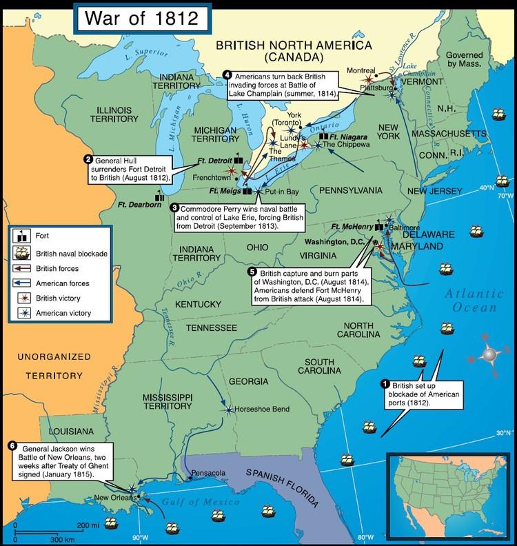 a map of war of 1812 offensives via jb hdmporg