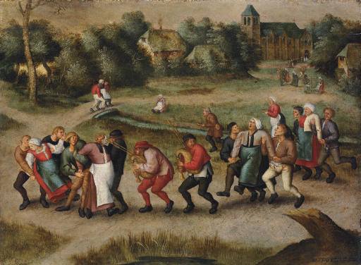 The Saint John's Dancers in Molenbeeck (1592) by Pieter Brueghel the Younger. It was thought that music helped the dancers, and we can see villagers helping the exhausted dancers continue.
