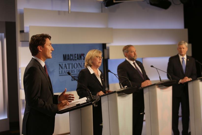 A picture of  Maclean's recent Leaders Debate.