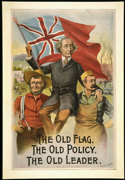 A Conservative campaign poster from 1891, via  Library and Archives Canada .