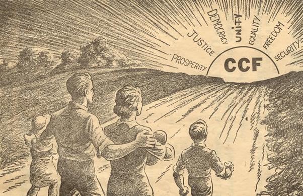 An election ad for the Saskatchewan CCF, via  U  Sask's Online Exhibit .