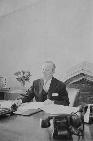 Lester Pearson occupying his new office after his election win in 1963, via   Library and Archives Canada  .
