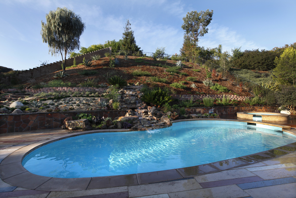Singing gardens san diego zen garden designer designing for Pool design sloped yard