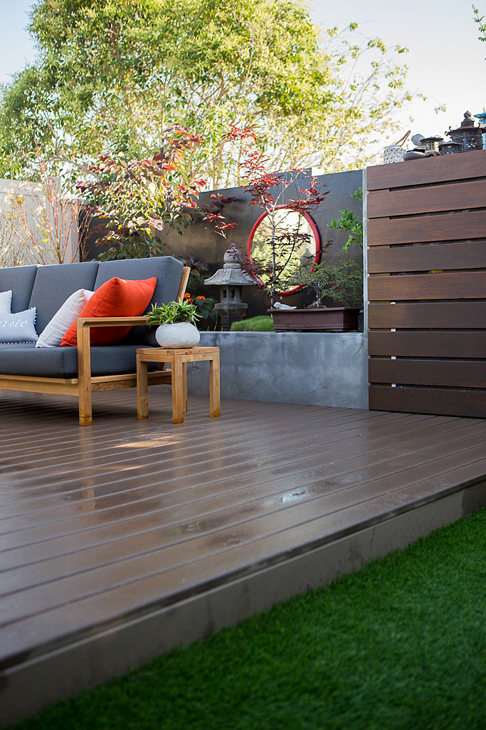 trex deck modern Zen garden backyard seating room design by Singing Gardens.jpg