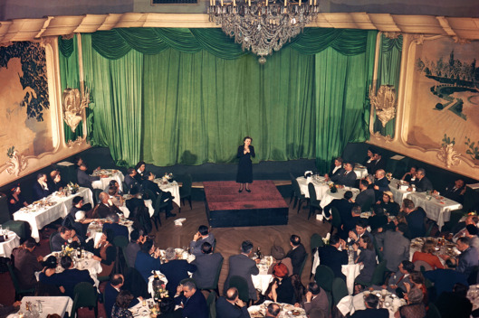 "ca. 1950 Piaf in Love and Grief Edith Piaf performed regularly at the Versailles, on East 50th Street, including on October 28, 1949, the evening she learned that her lover, Marcel Cerdan, had died in a plane crash. She sang ""Hymne à l'Amour"" and collapsed before reaching the final line: ""God reunites those who love each other.""  Photo: Photofest"