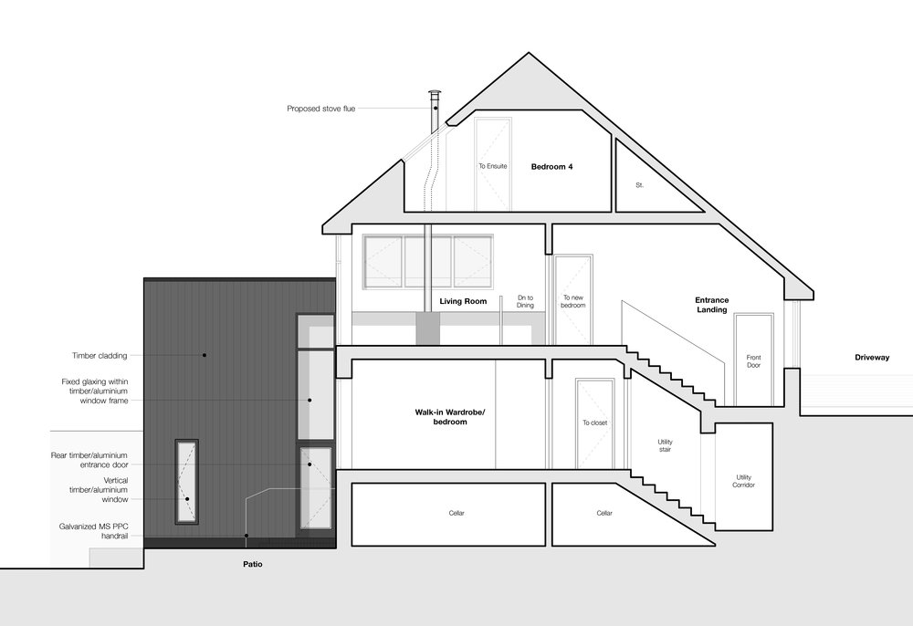 Section through existing house showing proposed new entry to mezzanine dining within the proposed extension