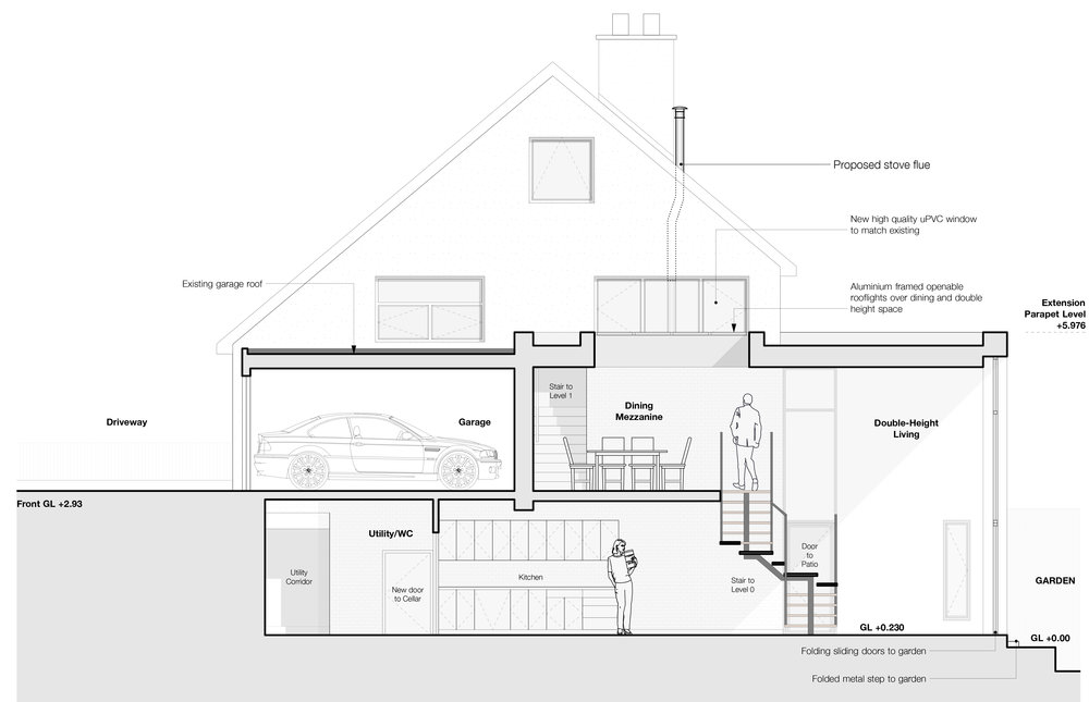 Section through proposed alteration and extension to existing basement/garage with new access to garden from the main house.