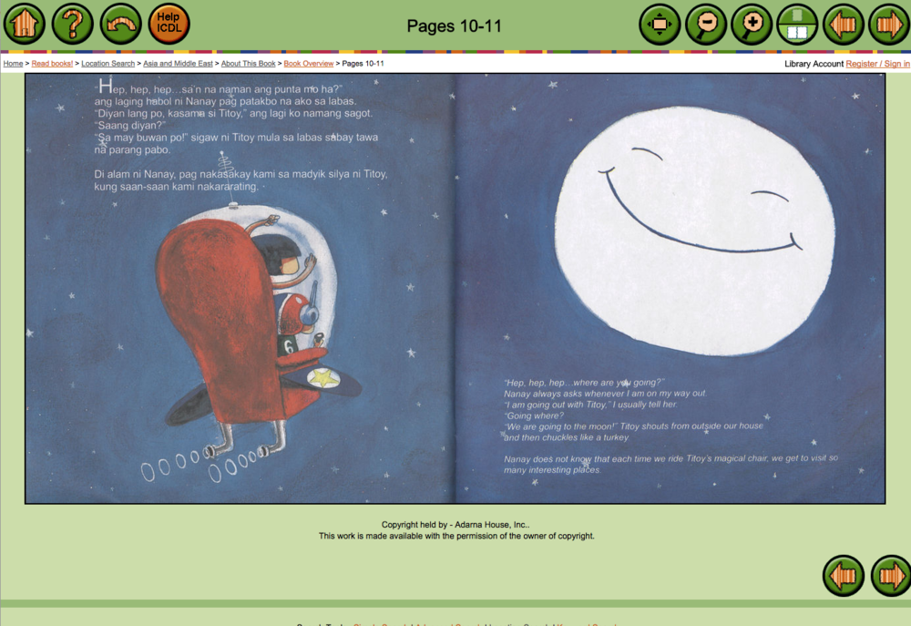 Displaying two pages of a bilingual storybook on childrenslibrary.or. The story is written in Tagalog on the left and English on the right.