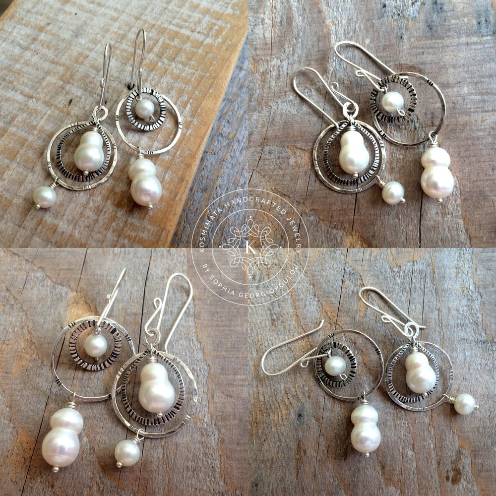 bb86637a8 Hand forged darkened silver elements orbit around white baroque pearls that  remind them of gravity.