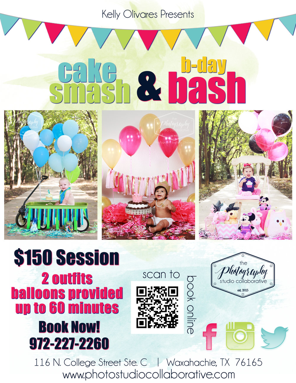 Kelly Olivares Photography Cake Smash Flyer