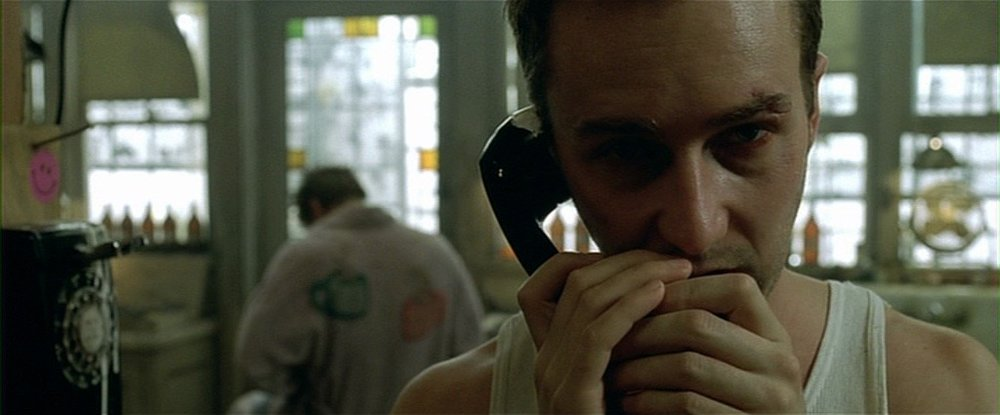 "Fight Club  -  A good ""narcissism destroys"" entry. Visually it's often pretty far off from SJW - but I like these frames for bringing us uncomfortably close to such an unlikable character. I've always found this film cringe-worthy… now I'm looking closer to understand why."