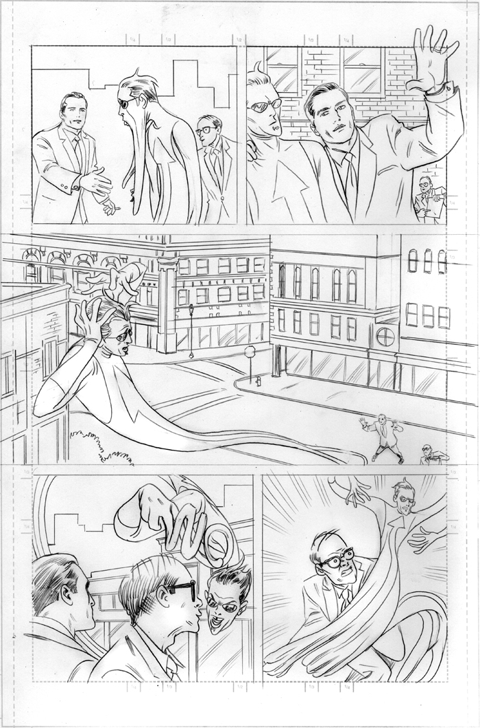 "A couple of pages of Michael Allred's original pencils for ""Mr. Gum: Who Sell-Out? You Sell-Out!"""