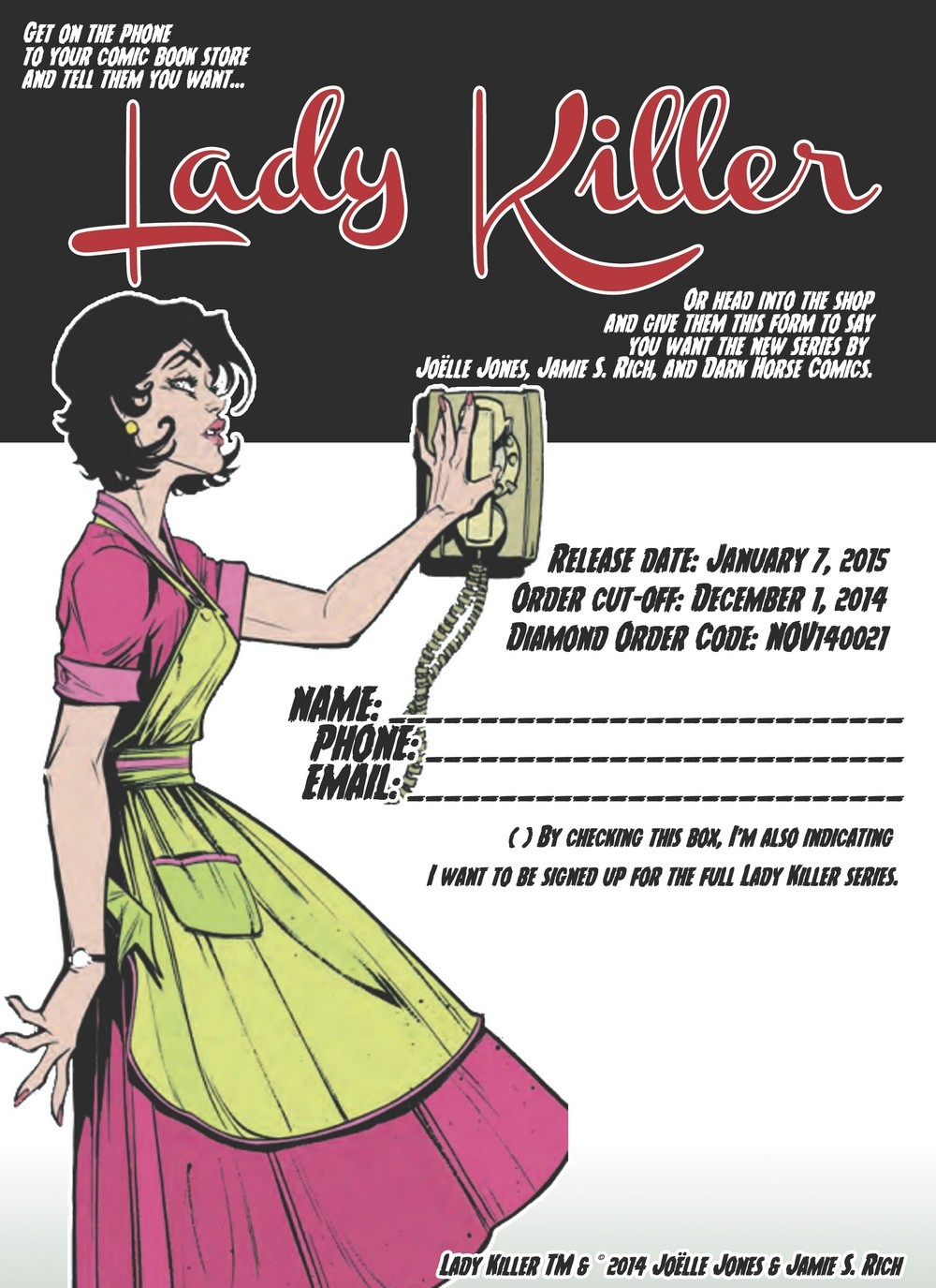 PRE-ORDER FORM FOR LADY KILLER #1 — Confessions of a Pop Fan on purchase order form, promotional product order form, photography order form, christmas cake order form, contact order form, thirty-one order printable order form, home order form, avon customer order form,