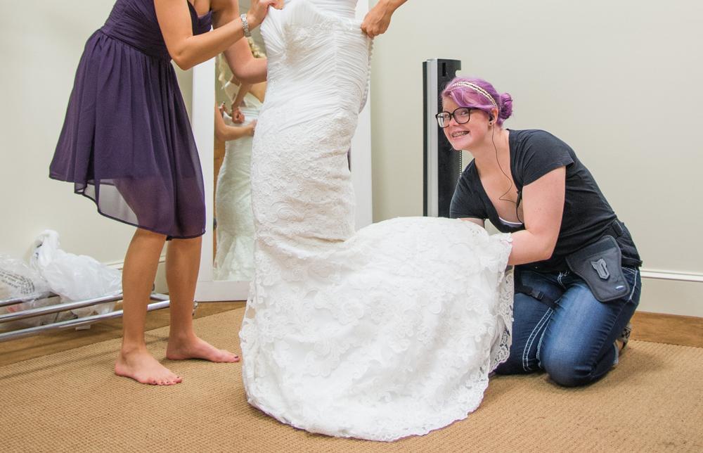 SARAH + JOSH | MARRIED  \ #lightemuplaura, also a wedding dress unruffler.