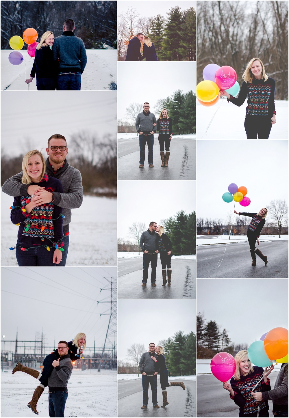 Who says a winter shoot can't be fun too! Since Alissa and Michael got engaged...let me see...the day before Christmas (yes, Michael killed it). - If you want to spice up a winter shoot: balloons, lights, or great sweaters are a great touch.