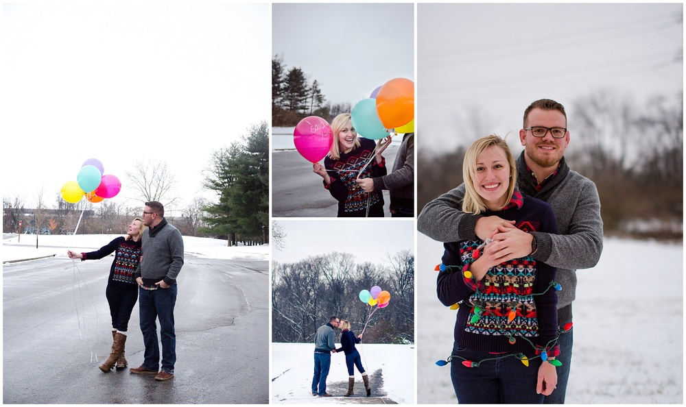 Michael and alissa had an outdoor winter shoot so wearing thick sweaters, layers, and boots made sense for the weather. But they also looked super cute while adding a touch of color to the otherwise gray backdrop. This way they can be comfortable, warm, and cute! Michael + Alissa Engagement