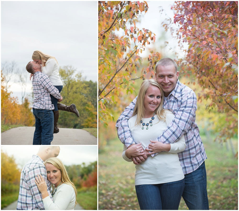 Mike and Pam had a fall shoot so if you'll notice pam's perfect outfit...Nice jeans, boots, a cute sweater, and a statment necklace! You will also notice that because she was wearing white, her sweater coordinated so well with his patterned dress shirt! Their colors were a little more simple to mesh well with the crazy fall leaves! PERfection.  CHeck out: Mike + Pam Engagment