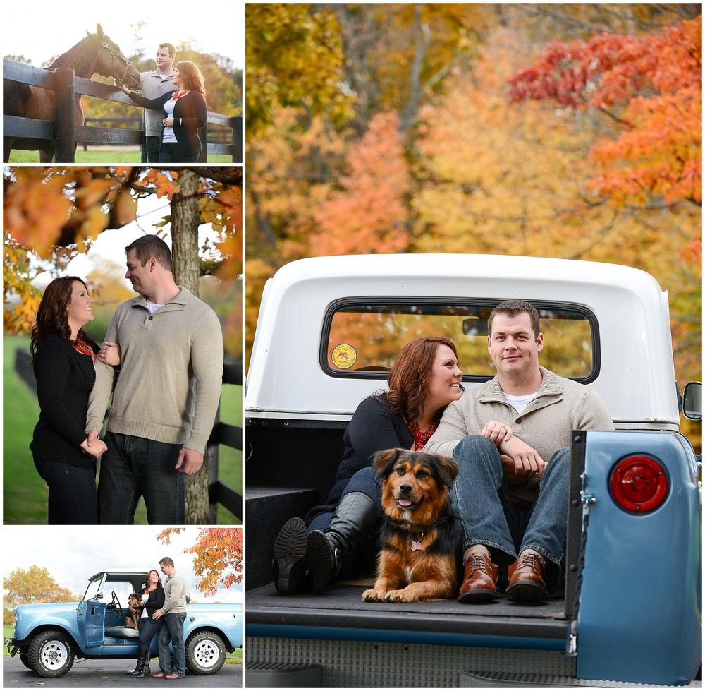 Nate and Vanessa decided to go with darker colors (also works for fall). Simple  solid colors, great shoes, and a statment piece . Not to mention a  sweet truck and an adorable pooch !    Check out: Nate + Vanessa Engagment