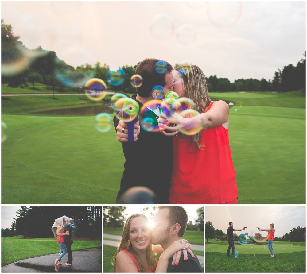 Devin and Hannah had a summer engagement shoot that was to die for! They are rocking simple outfits (yet super cute) that work with what was happening. Bubbles, rain, and sunsets. They didn't even wear shoes. This is just so perfect. The most practical engagement shoot ever! I really feel like Hannah does a great job with her pop of color (a bright red shirt among the green), Devin + Hannah Engagement