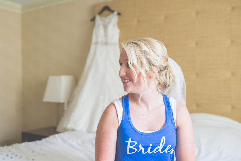 I love that Pam decided to wear a colored shirt with bride written on it. She looks great in blue!