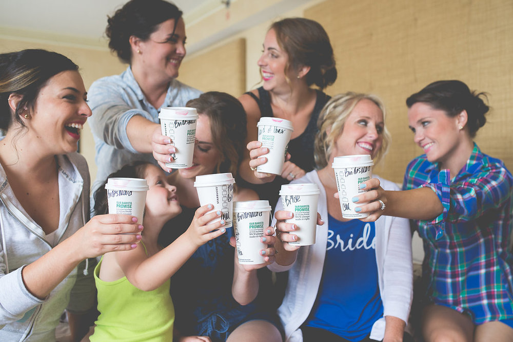 Pam and her bridesmaids took a trip across the street to Starbucks before getting ready.