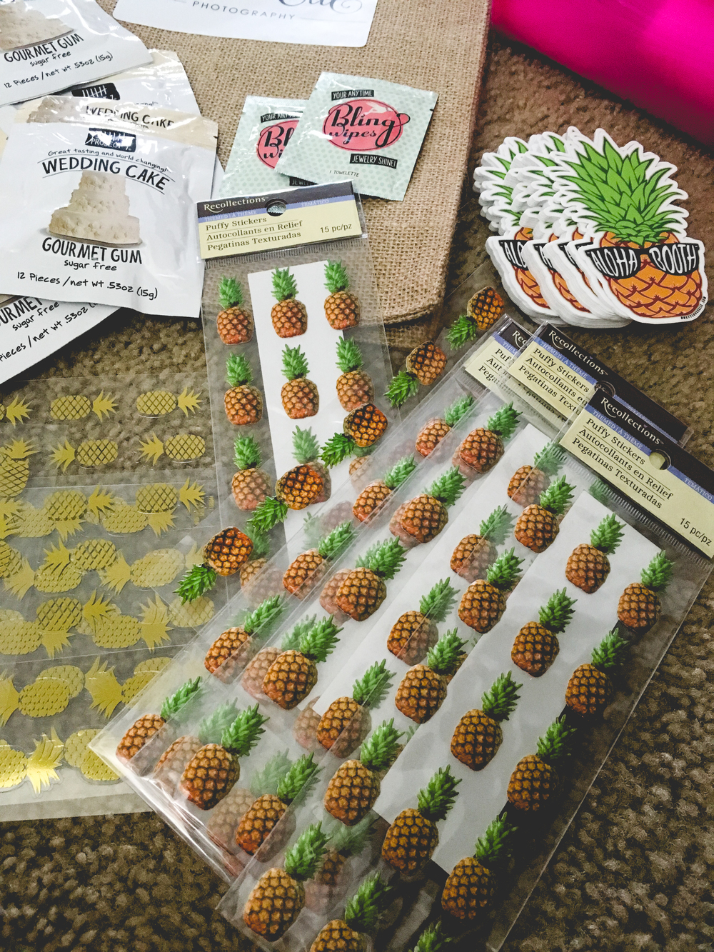 Pineapple stickers!!! ---  THIS PROJECT 7 GUM IS THE BOMB!! I BUY ALL DIFFERENT KINDS OF FLAVORS FOR MYSELF. MY LITTLE SISTER EVEN MAKES ME SEND HER SOME...SHE COULD LITERALLY GET IT FROM TARGET BUT SHE LIKES WHEN I SEND IT TO HER.