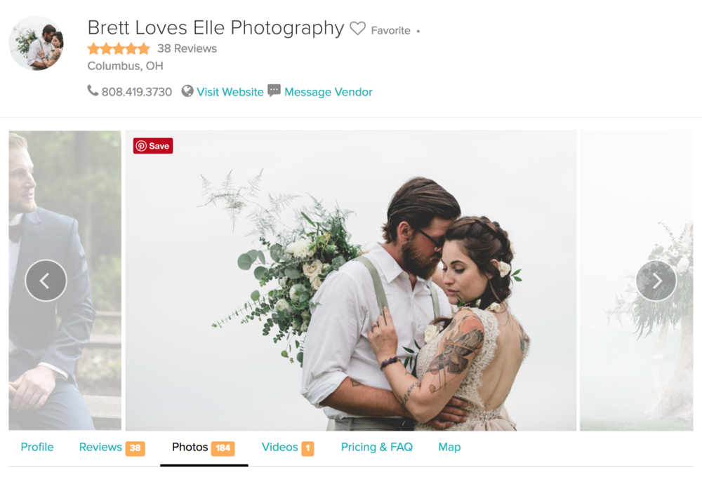 Brett Loves Elle Photography, Wedding Wire Couple's Choice Award
