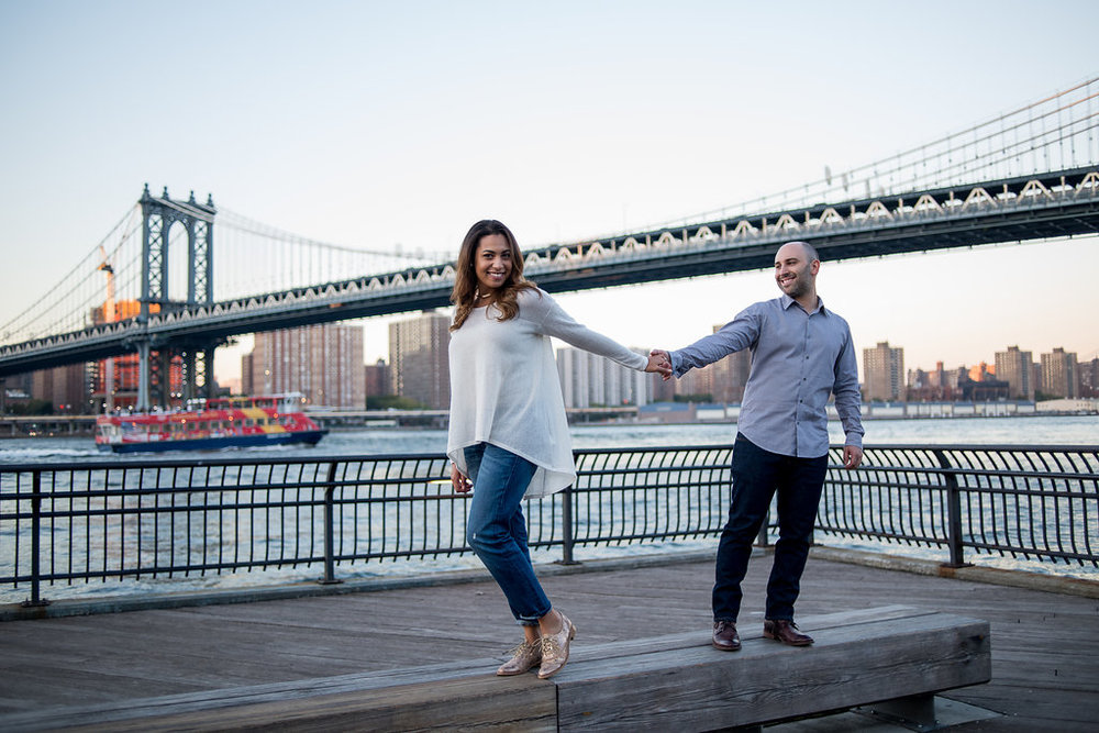 LIZ + BRIAN ENGAGEMENT - Brooklyn Bridge/High LIne   Love the casual yet fun outfit Liz is rocking. She seriously is the cutest! She rocked that hat and even used it as a prop. Plus, check out her shoes!! SEE shoes do matter! Their color choices work for both locations as well! That is talent.   Check out:  liz loves brian engagement