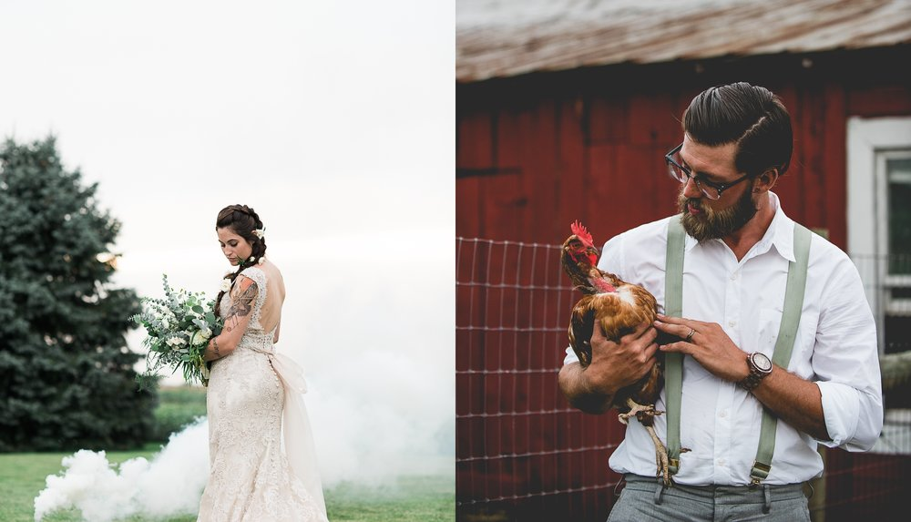 Boho Bride and Groom Portrait By Brett Loves Elle Photography, Columbus Wedding Photographers.