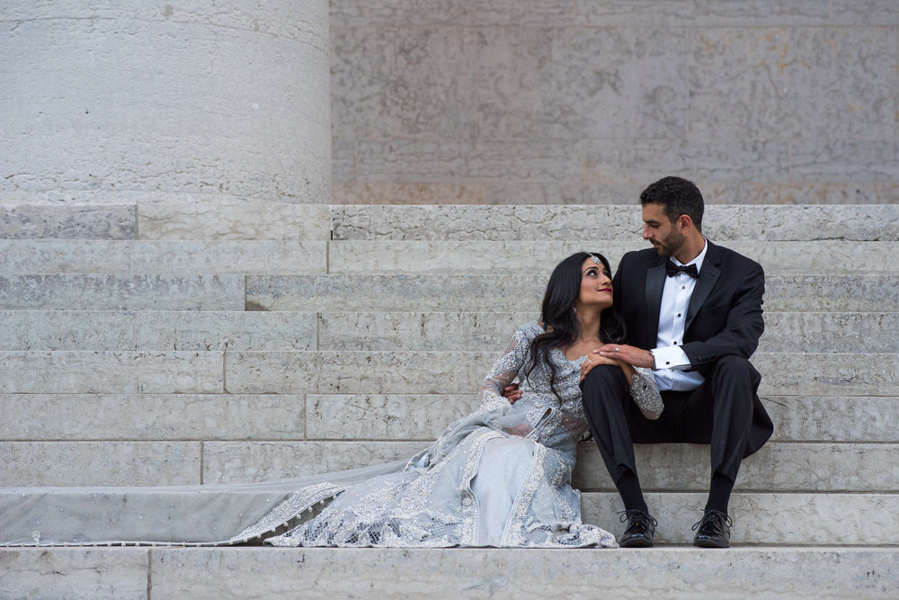 Maaria and Ali Bride and Groom Portrait at the Statehouse