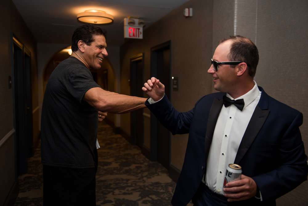 Jeff, receiving wedding day well wishes from  lou Ferrigno  -the original hulk