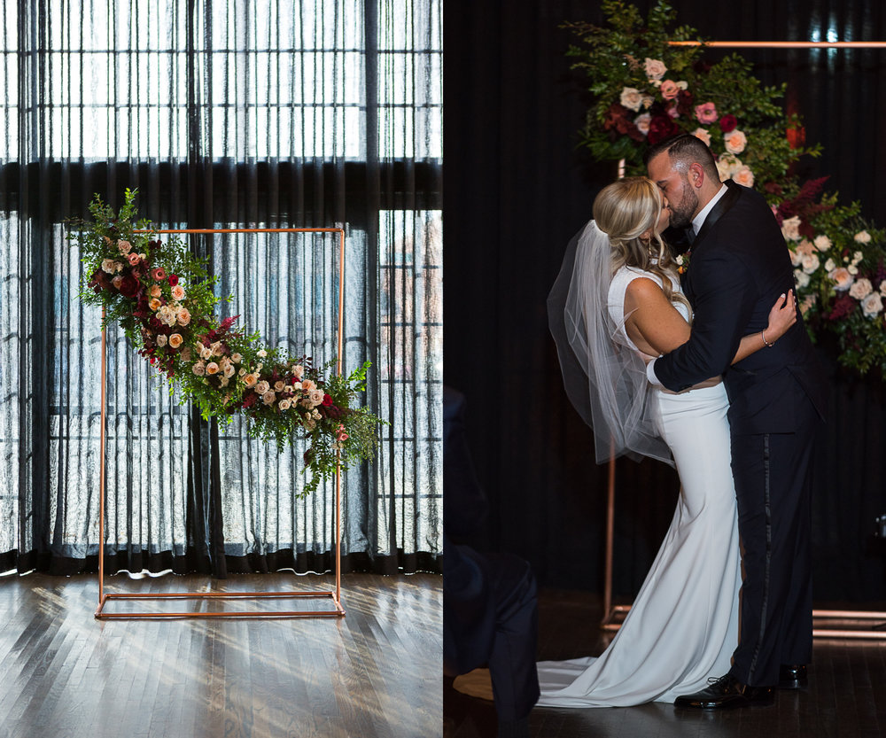 Brett Loves Elle, Romantic Fall Downtown Wedding, Columbus Wedding Photography, Columbus Wedding Photographers, first kiss