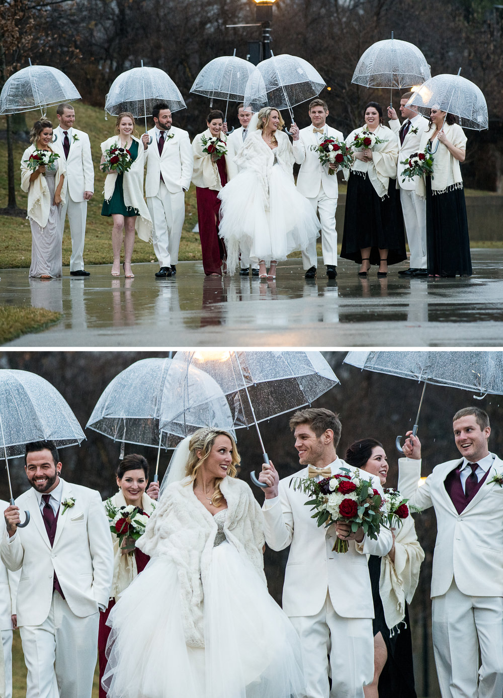 Brett Loves Elle Photography, Columbus Wedding Photographers, Ohio Wedding Photography, North Bank Park, Columbus Ohio. Rainy Day Winter Wedding