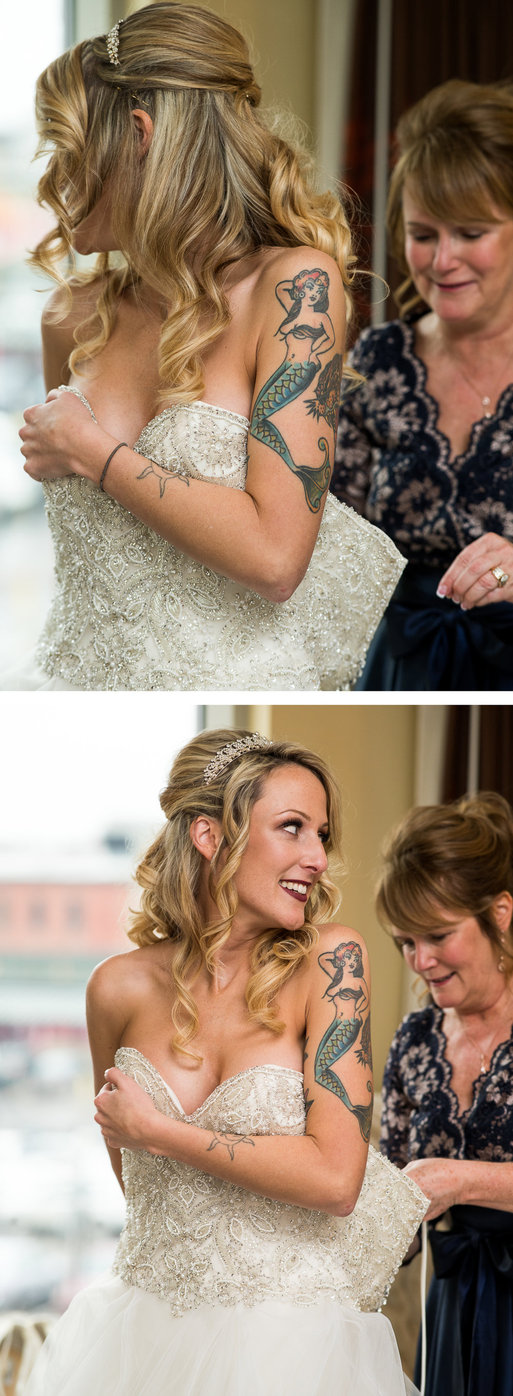 Brett Loves Elle Photography, Columbus Wedding Photographers, Ohio Wedding Photography, Glam Tattooed Bride, Bride Getting Ready with Mom