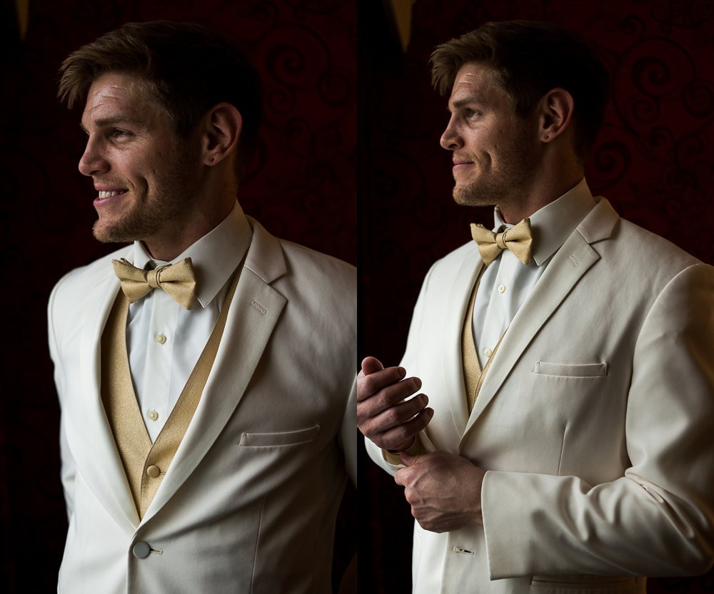 Brett Loves Elle Photography, Columbus Wedding Photographers, Ohio Wedding Photography, Cream and Gold Wedding Tuxedo, Groom Portrait