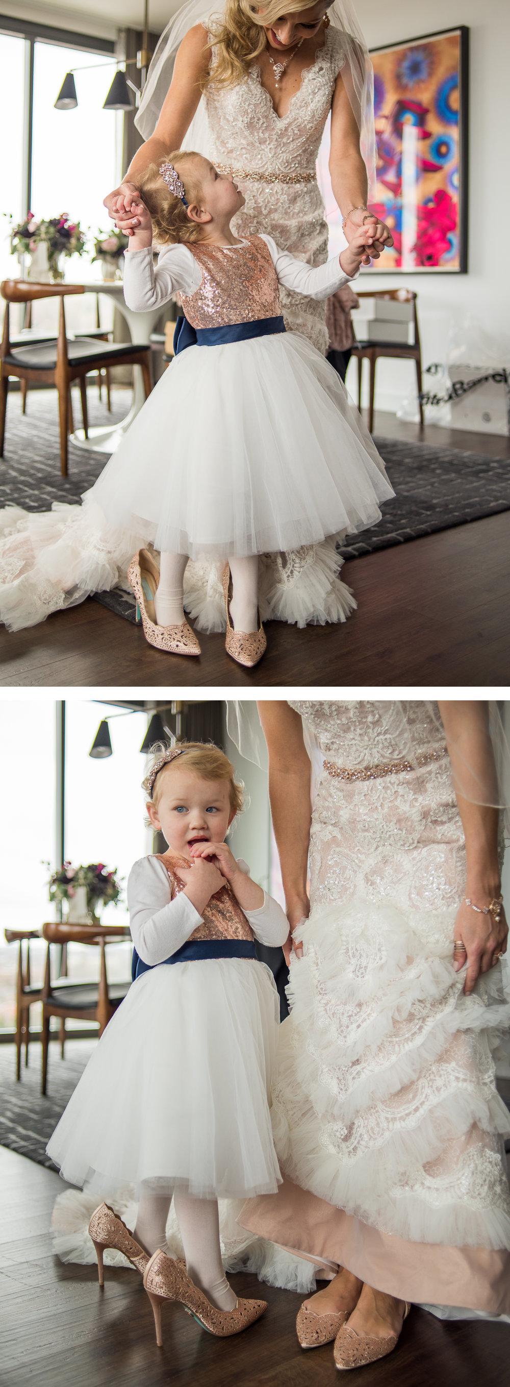 Brett Loves Elle, Columbus Wedding Photographers, Columbus Wedding Photography, Ohio Wedding, Bride and Flower Girl, Vintage Glam Wedding