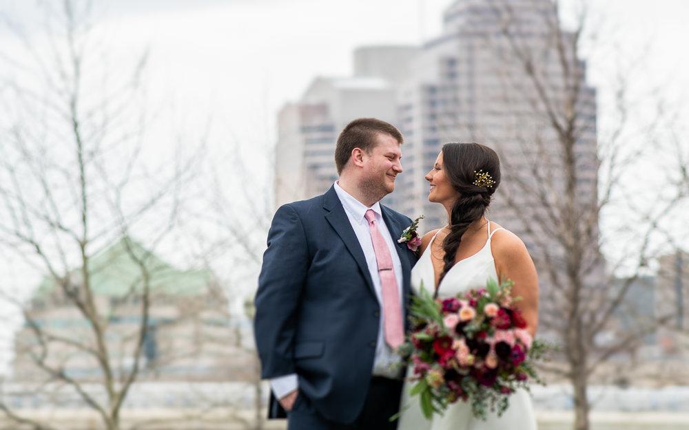 Brett Loves Elle Photography, Columbus Wedding Photographers, Bride and Groom Cityscape portrait