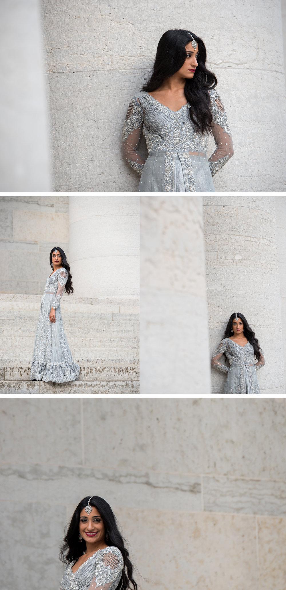 High Fashion Indian Bride Portrait at the Ohio StateHouse. . Brett Loves Elle Photography, Columbus Wedding Photographers.