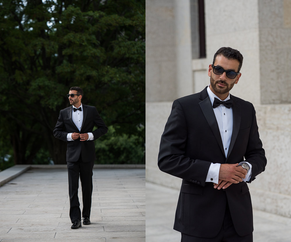 High Fashion Groom Portrait at the Ohio StateHouse. Brett Loves Elle Photography, Columbus Wedding Photographers.