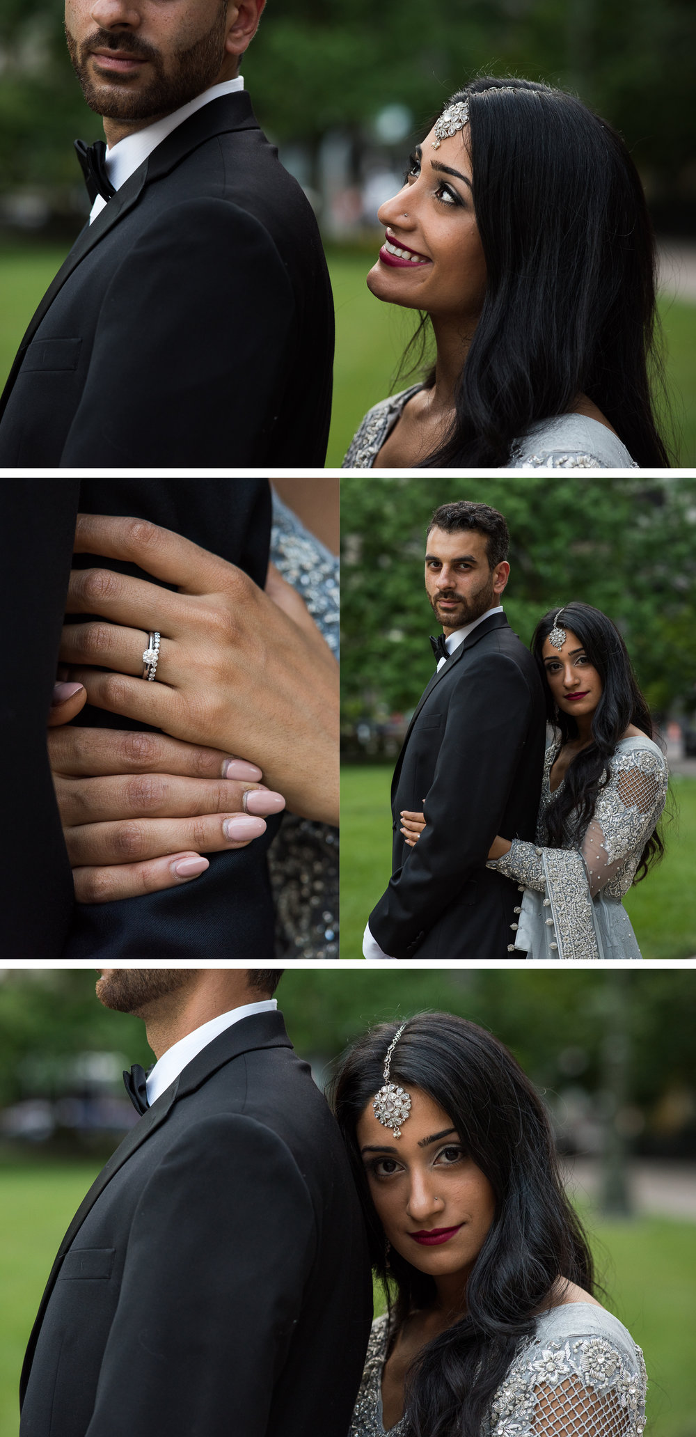 Multi Cultural Bride and Groom Portrait at the Ohio StateHouse By Brett Loves Elle Photography, Columbus Wedding Photographers.