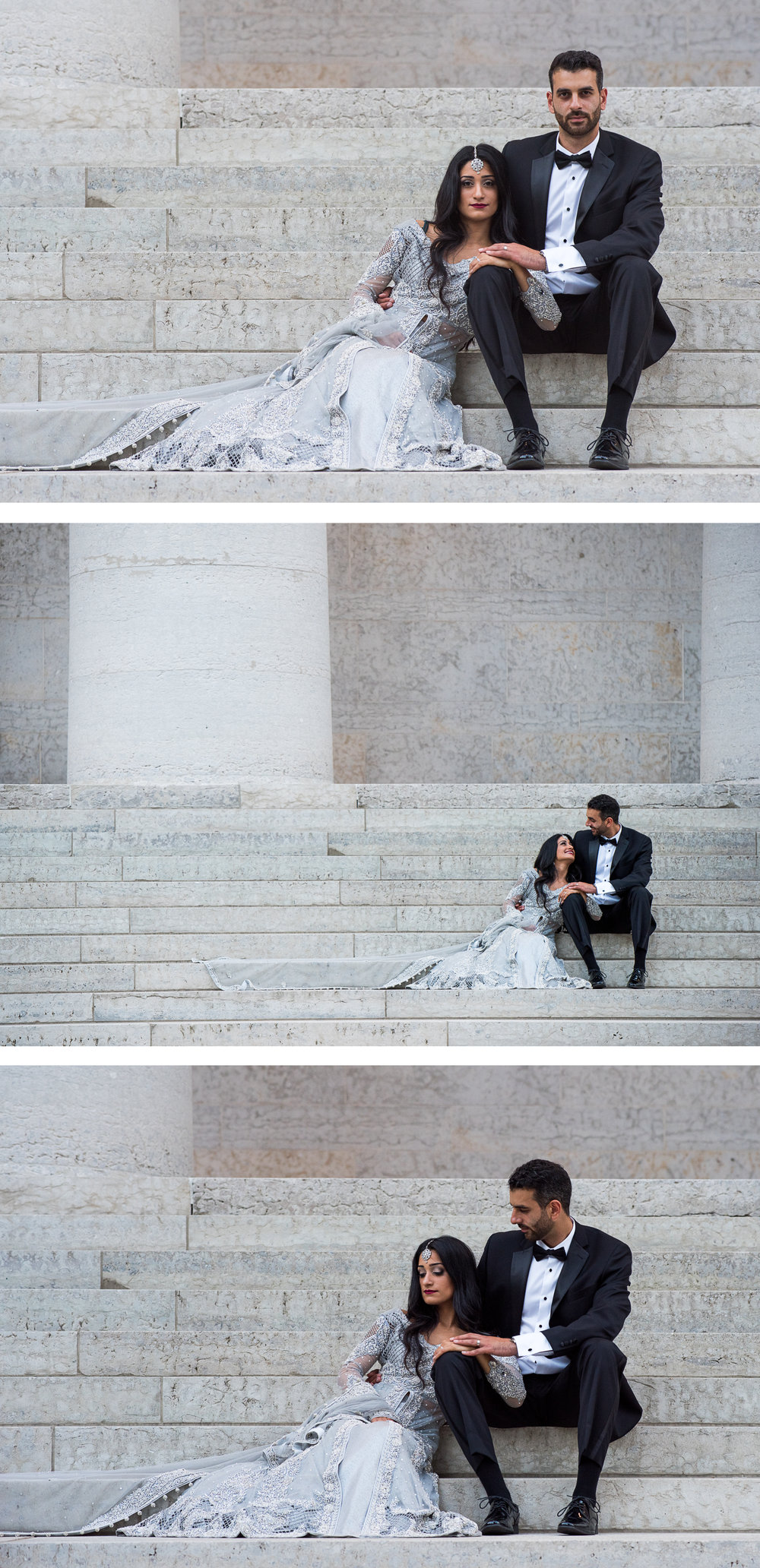 High Fashion Multi Cultural Bride and Groom Portrait at the Ohio StateHouse By Brett Loves Elle Photography, Columbus Wedding Photographers.