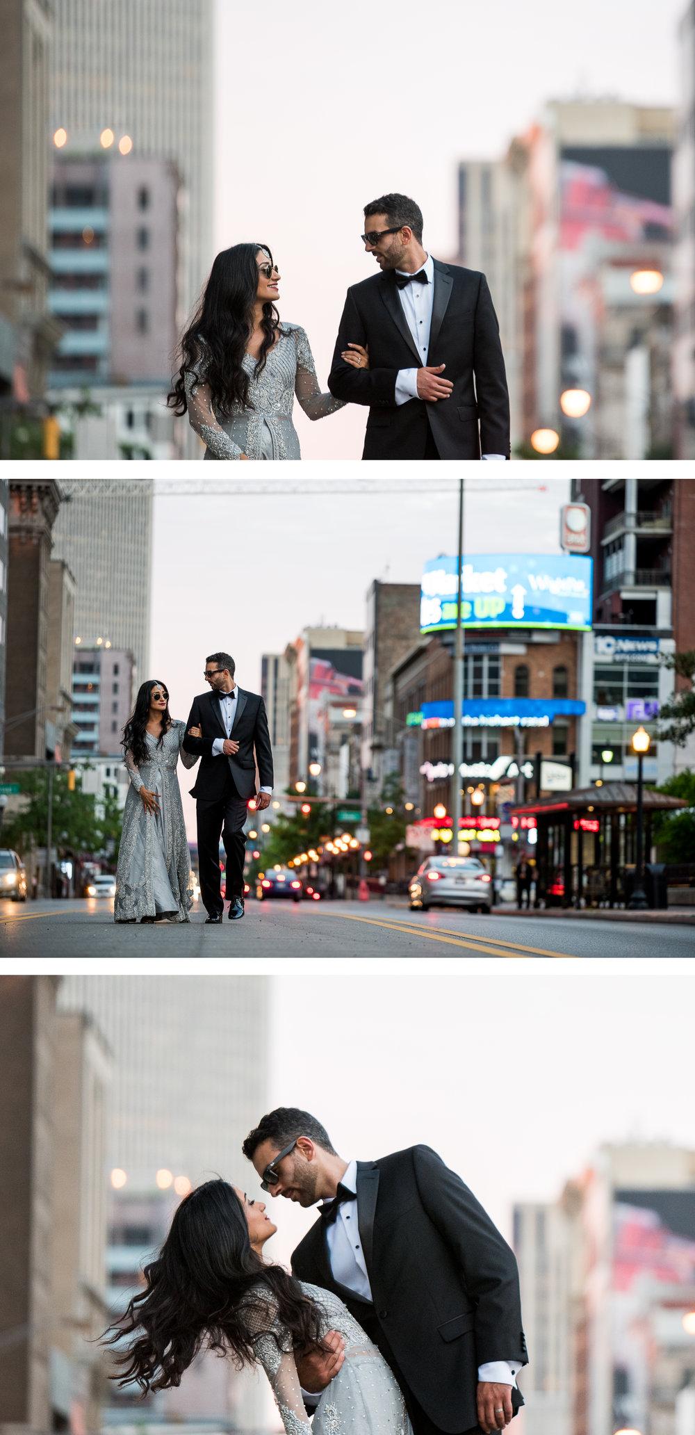 Multi Cultural Bride and Groom Portrait Downtown Columbus Streetlights. By Brett Loves Elle Photography, Columbus Wedding Photographers.
