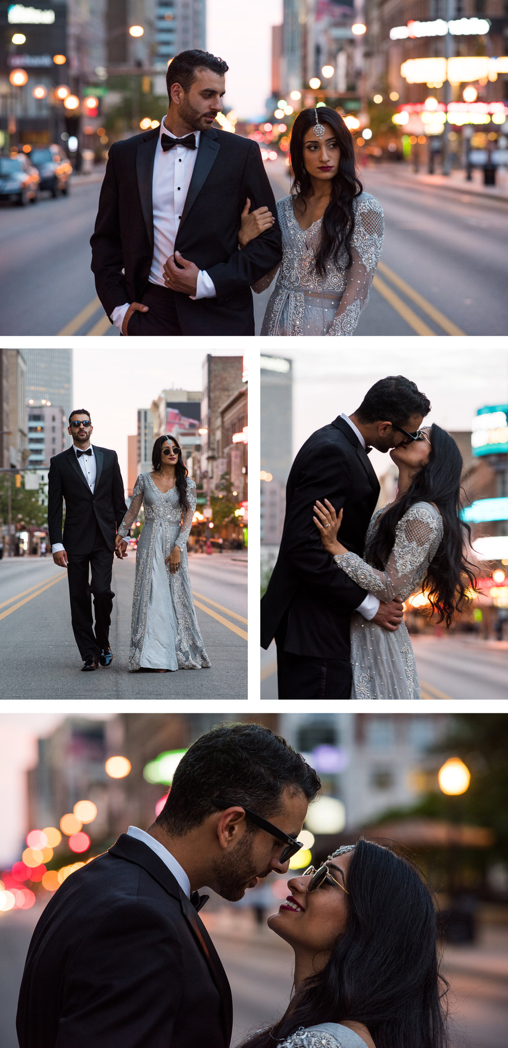 Multi Cultural Bride and Groom Portrait Downtown Columbus Streetlights. By Brett Loves Elle Photography, Columbus Wedding Photographers.