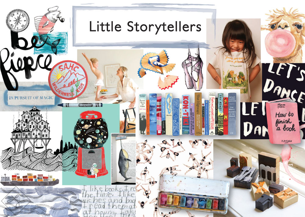 Little Storytellers:  embraces creativity and fosters expression. A new school year is a fresh start and a chance for kids to share who they are and what interests them. Watercolor stains, book cover art, handwriting, and sketches are elements that share a handmade feel and can be used to showcase an attitude or interest and will help children to wear who they are on their sleeve - or backpack, or pencil case - this year.