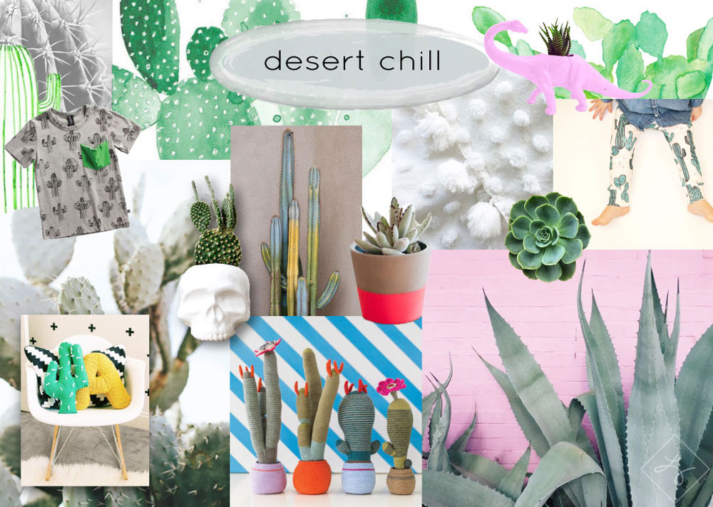 Desert Chill:  small and robust, succulents and air plants are popular because they are hearty and able to thrive in most conditions. They also have a very simple, sculptural, almost prehistoric look to them that makes them appealing from a design perspective. Succulents are easy for kids to care for and that, paired with their frosty color and unique shape, make them a fun, natural inspiration for form, pattern, and color.